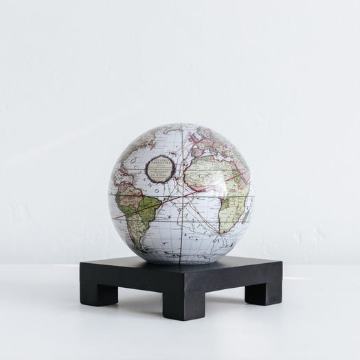 "Antique Terrestrial White MOVA Globe 4.5"" with Square Base Black"