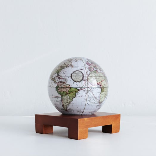 "Antique Terrestrial White MOVA Globe 4.5"" with Square Base Dark Wood"