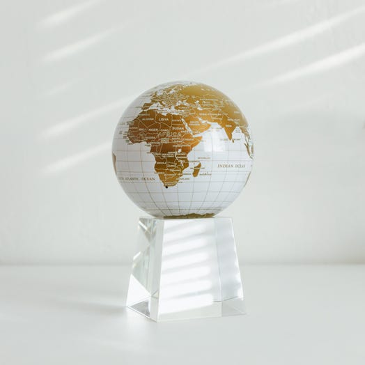 "White and Gold MOVA Globe 4.5"" with Crystal Base Tall"