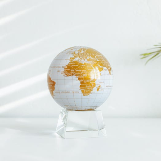 "White and Gold MOVA Globe 4.5"" with Crystal Base"