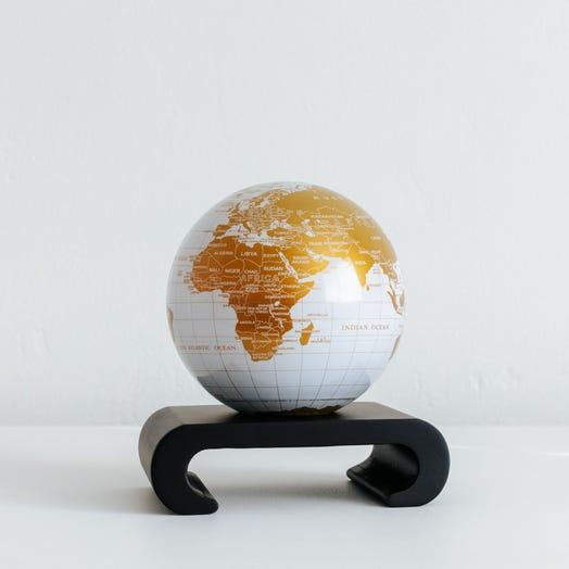 "White and Gold MOVA Globe 4.5"" with Arched Base Black"