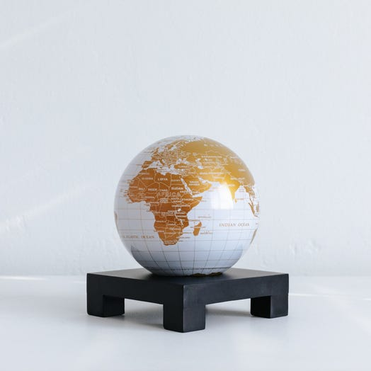 "White and Gold MOVA Globe 4.5"" with Square Base Black"