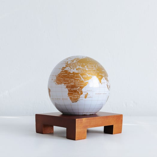 """White and Gold MOVA Globe 4.5"""" with Square Base Dark Wood"""