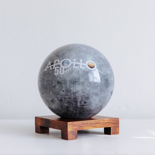 "Apollo Moon MOVA Globe 6"" with Square Base Dark Wood"