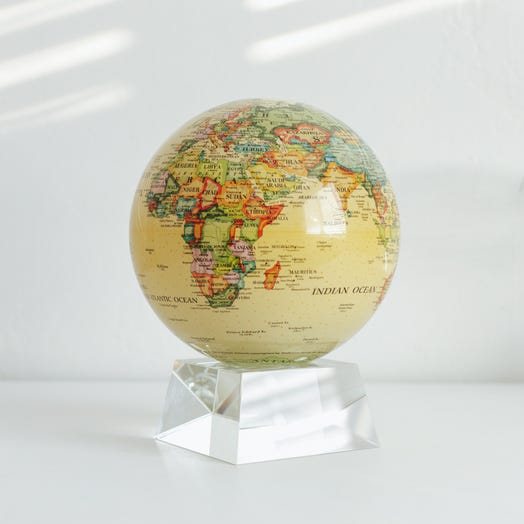 "Political Map Yellow MOVA Globe 6"" with Crystal Base"