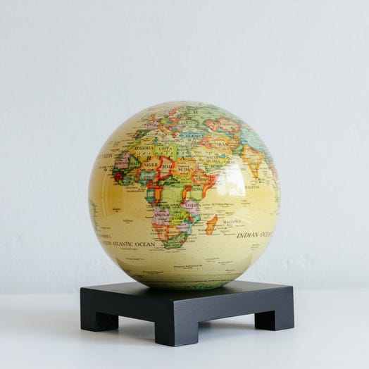 "Political Map Yellow MOVA Globe 6"" with Square Base Black"