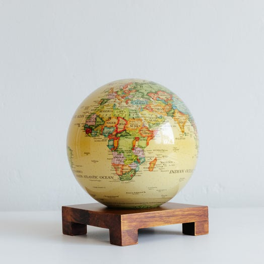 "Political Map Yellow MOVA Globe 6"" with Square Base Dark Wood"