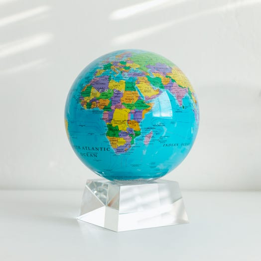 "Political Map Blue MOVA Globe 6"" with Crystal Base"