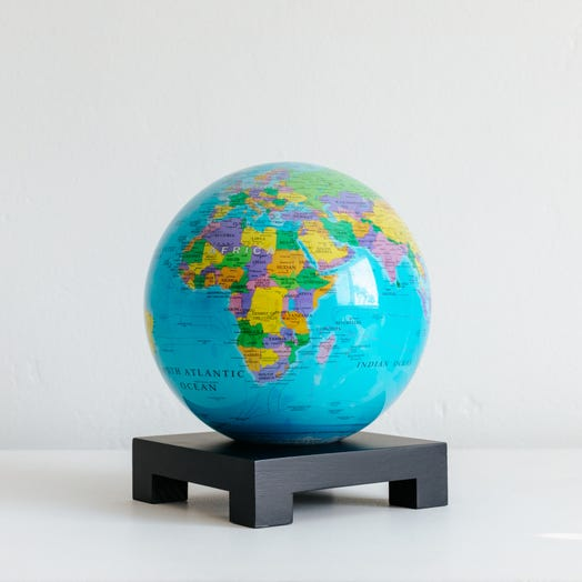 "Political Map Blue MOVA Globe 6"" with Square Base Black"