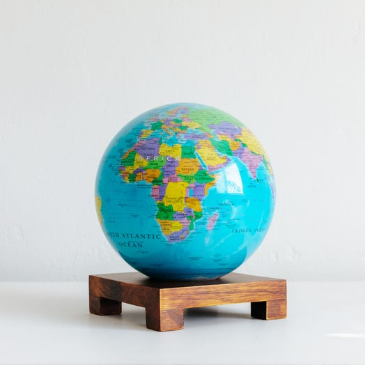 "Political Map Blue MOVA Globe 6"" with Square Base Dark Wood"