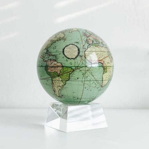"""Antique Terrestrial Green MOVA Globe 6"""" with Crystal Base"""