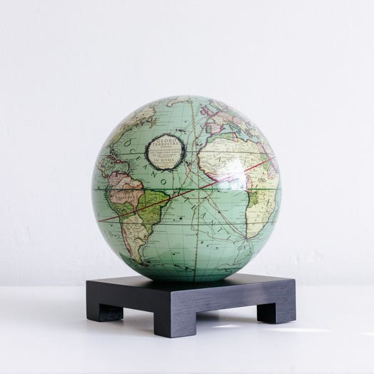 "Antique Terrestrial Green MOVA Globe 6"" with Square Base Black"