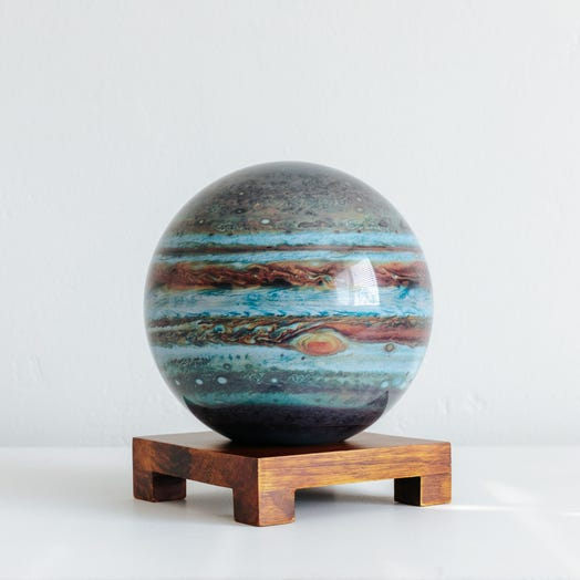 "Jupiter MOVA Globe 6"" with Square Base Dark Wood"
