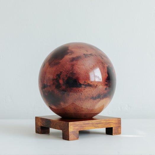 "Mars MOVA Globe 6"" with Square Base Dark Wood"