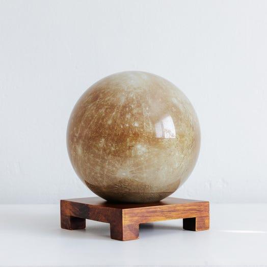 "Mercury MOVA Globe 6"" with Square Base Dark Wood"