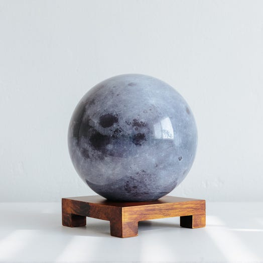 "Moon MOVA Globe 6"" with Square Base Dark Wood"