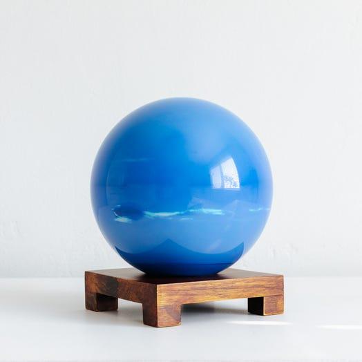 "Neptune MOVA Globe 6"" with Square Base Dark Wood"