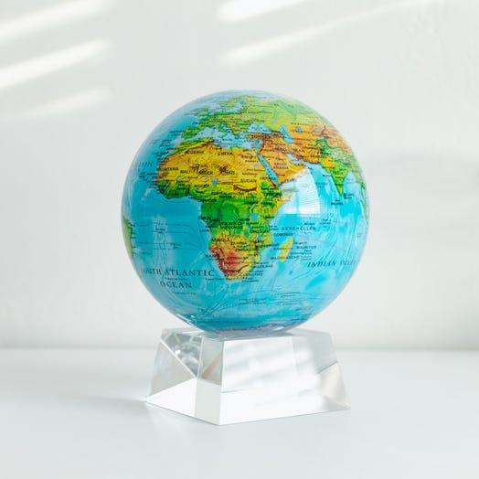 "Relief Map Blue MOVA Globe 6"" with Crystal Base"