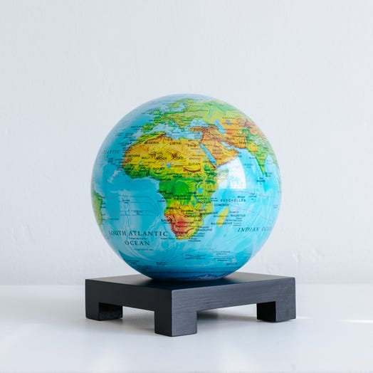 "Relief Map Blue MOVA Globe 6"" with Square Base Black"
