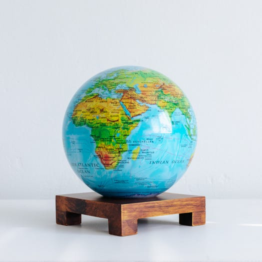 "Relief Map Blue MOVA Globe 6"" with Square Base Dark Wood"