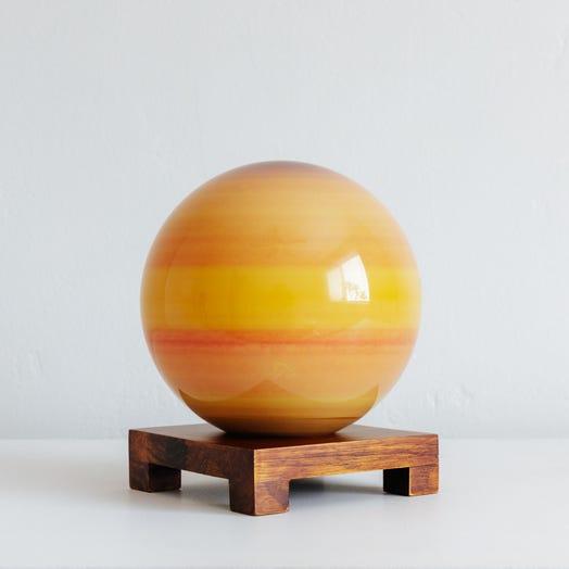 "Saturn MOVA Globe 6"" with Square Base Dark Wood"