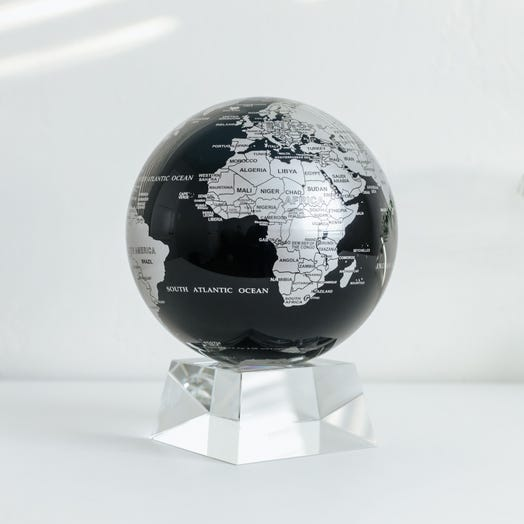 "Black and Silver MOVA Globe 6"" with Crystal Base"