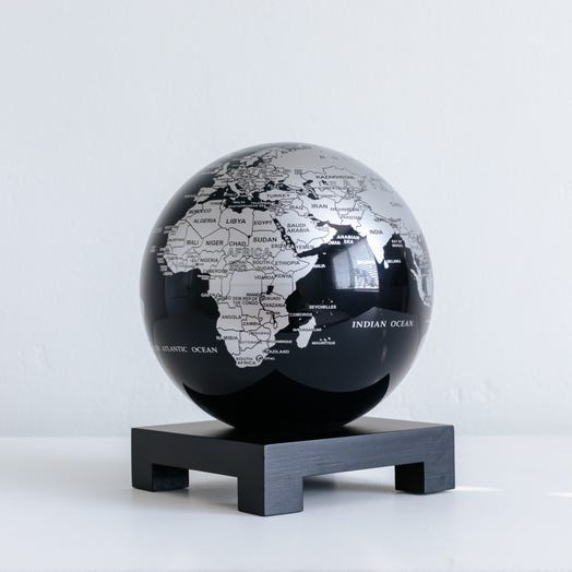 "Black and Silver MOVA Globe 6"" with Square Base Black"