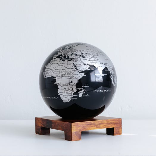 "Black and Silver MOVA Globe 6"" with Square Base Dark Wood"