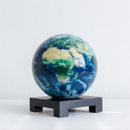 "Earth with Clouds MOVA Globe 6"" with Square Base Black"