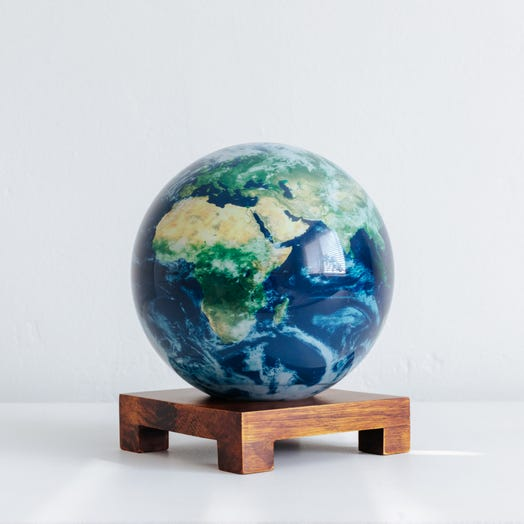 "Earth with Clouds MOVA Globe 6"" with Square Base Dark Wood"