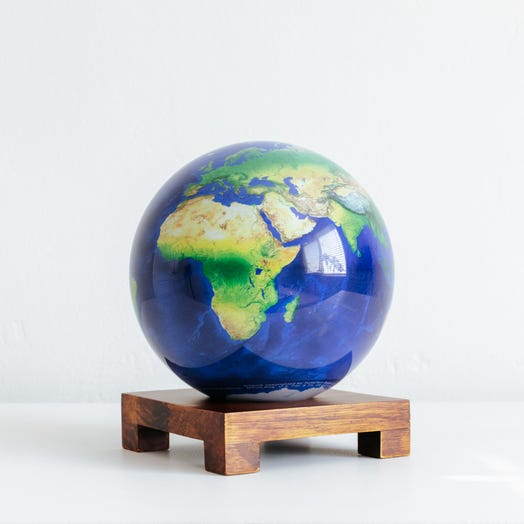 "Earth MOVA Globe 6"" with Square Base Dark Wood"