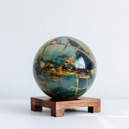 "Titan MOVA Globe 6"" with Square Base Dark Wood"