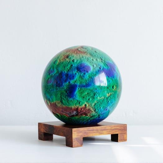"Vesta Asteroid MOVA Globe 6"" with Square Base Dark Wood"