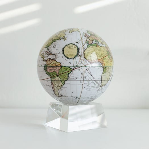 """Antique Terrestrial White MOVA Globe 6"""" with Crystal Base"""