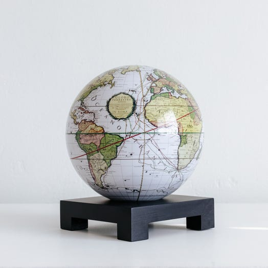 "Antique Terrestrial White MOVA Globe 6"" with Square Base Black"