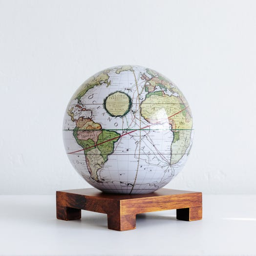"Antique Terrestrial White MOVA Globe 6"" with Square Base Dark Wood"