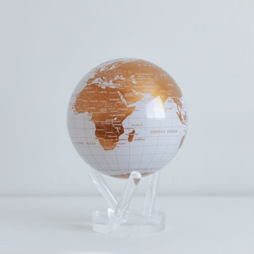 "White and Gold MOVA Globe 6"" with Acrylic Base"