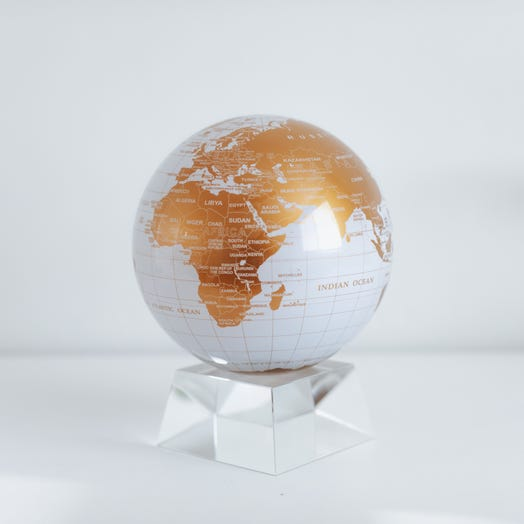 "White and Gold MOVA Globe 6"" with Crystal Base"