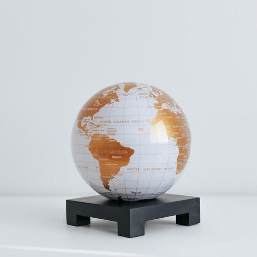 "White and Gold MOVA Globe 6"" with Square Base Black"