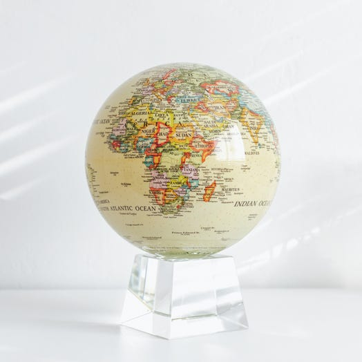 """Political Map Yellow MOVA Globe 8.5"""" with Crystal Base"""