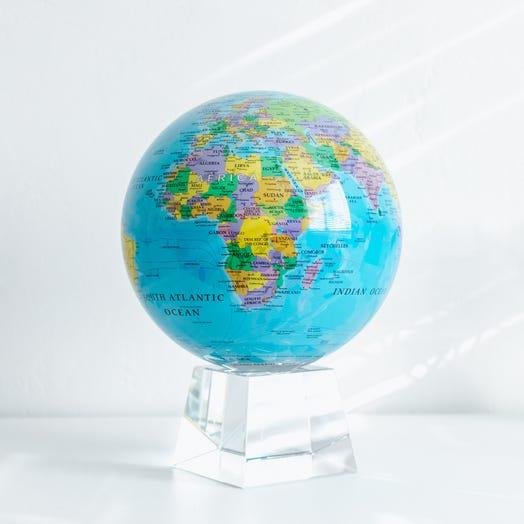 "Political Map Blue MOVA Globe 8.5"" with Crystal Base"