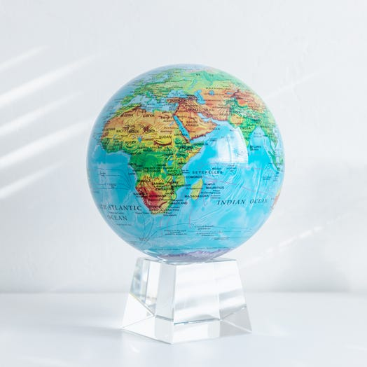 "Relief Map Blue MOVA Globe 8.5"" with Crystal Base"