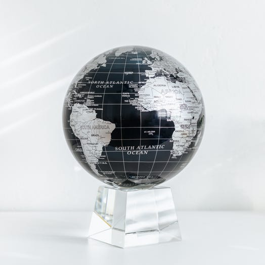 """Black and Silver MOVA Globe 8.5"""" with Crystal Base"""