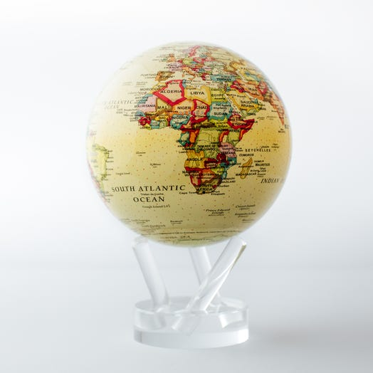 "Political Map Yellow MOVA Globe 4.5"" with Acrylic Base"