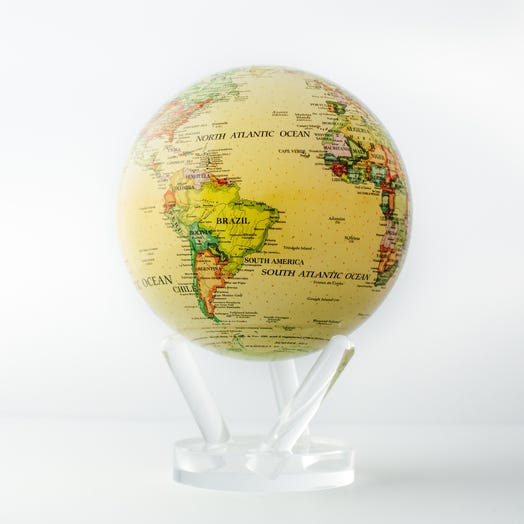 "Political Map Yellow MOVA Globe 6"" with Acrylic Base"