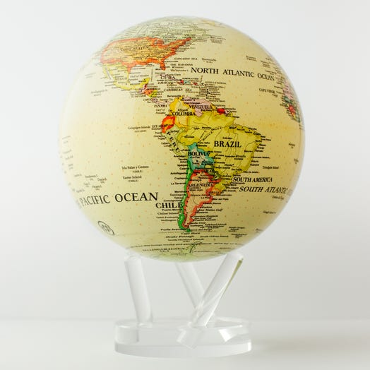 "Political Map Yellow MOVA Globe 8.5"" with Acrylic Base"