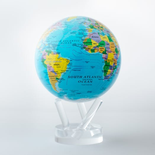 "Political Map Blue MOVA Globe 4.5"" with Acrylic Base"