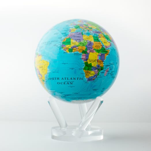 "Political Map Blue MOVA Globe 6"" with Acrylic Base"
