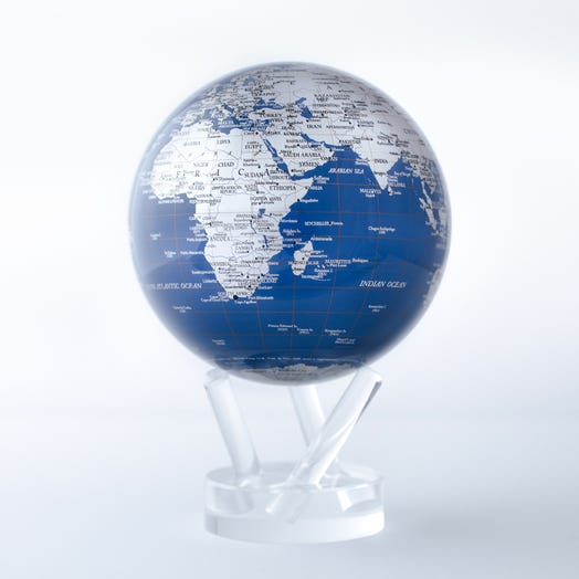 "Blue and Silver MOVA Globe 4.5"" with Acrylic Base"