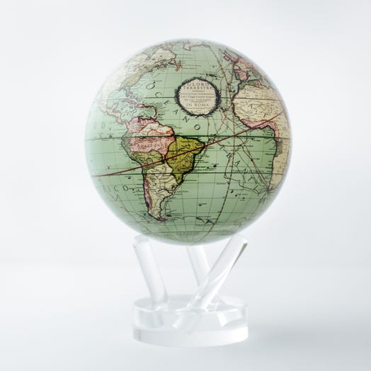 "Antique Terrestrial Green MOVA Globe 4.5"" with Acrylic Base"